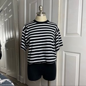 Topshop Black White Strip Short Sleeve T-Shirt